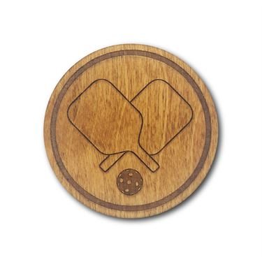 Racquet Inc Pickleball Wooden Coasters - Brown
