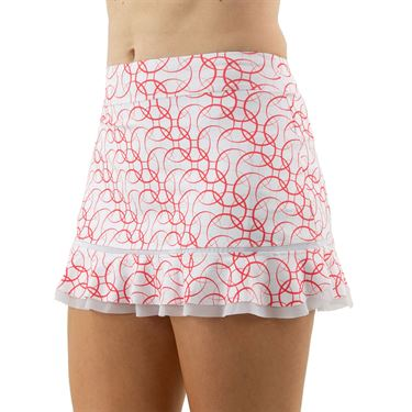 Inphorm Vibrant Mod Bridget Bottom Ruffle Skirt Womens Red Print/White S18024 0222û