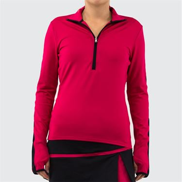 Inphorm Cherry Jess Long Sleeve 1/2 Zip Top Womens Cherry/Black F19032 105