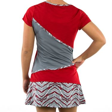 Eleven Sprint Wrap Short Sleeve Top - Tango Red