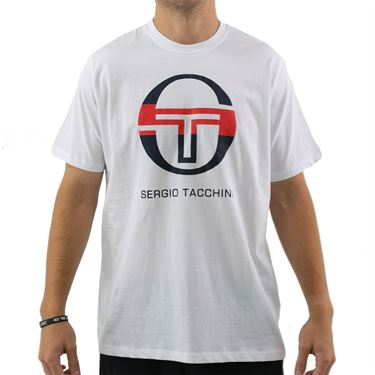 Sergio Tacchini Iberis Tee Shirt Mens White/Navy/Red STMF2038714 108