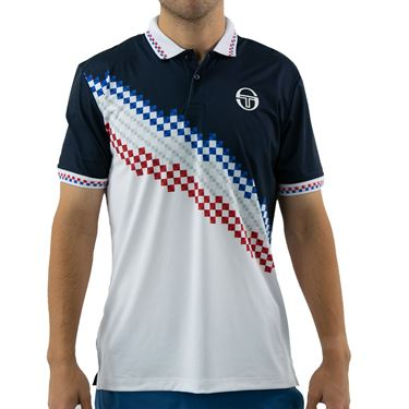 Sergio Tacchini Check Polo Shirt Mens Navy/White STMF2038778 227