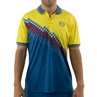 Sergio Tacchini Check Polo Shirt Mens Sun Yellow/Lyons Blue STMF2038778 413