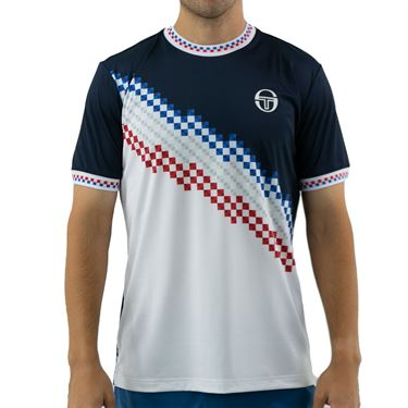 Sergio Tacchini Check Tee Shirt Mens Navy/White STMF2038779 227