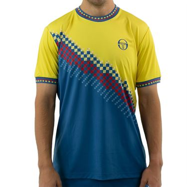 Sergio Tacchini Check Tee Shirt Mens Sun Yellow/Lyons Blue STMF2038779 413