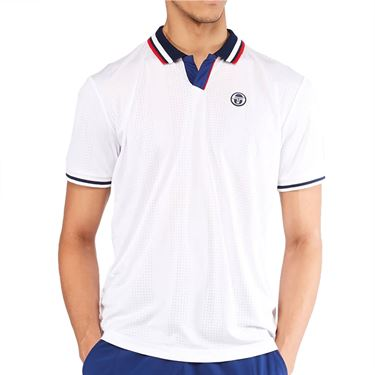Sergio Tacchini Paris Polo Shirt Mens Blanc De Blanc/Blue Depths STMS2138925 126