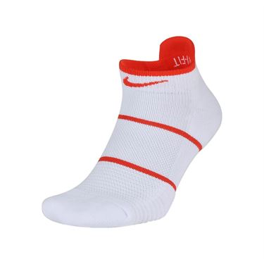 Nike Court Essentials No Show Tennis Sock - White/Habanero Red