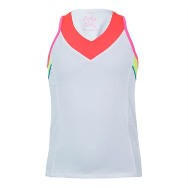 Lucky In Love Nano Rainbow Girls V Neck Racerback Tank - White/Coral/Neon Yellow