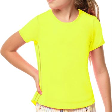 Lucky in Love Mad About Plaid Girls Dymanic High Low Top Neon Yellow T188 710
