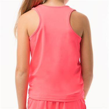 Lucky in Love Neon Vibes Girls Why Knot Tank - Coral Crush