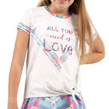 Lucky in Love Mad About Plaid Girls Love Tie Knot Tee Shirt Schocking Pink T198 B03648