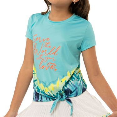 Lucky in Love Peace Out Girls Serve With Love Tee Shirt Opal T198 D08470