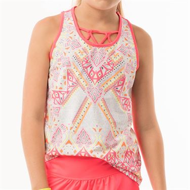 Lucky in Love Neon Vibes Girls Tank - Coral Crush Print