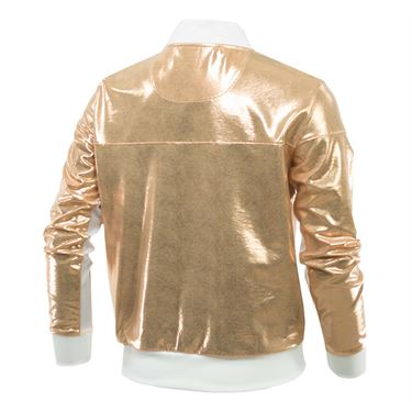 Lucky in Love Girls Go For the Metal Metallic Bomber Jacket - Rose Gold