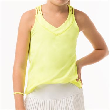 Lucky in Love Neon Vibes Girls Entwine Racerback Tank - Neon Yellow