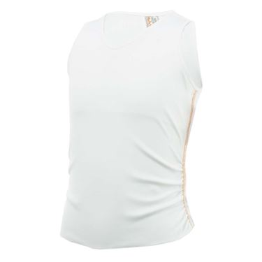 Lucky In Love Girls Go For the Metal Metallic Stripe Rib Tank - White