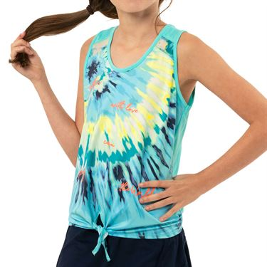 Lucky in Love Peace Out Girls Tie Tank Opal T203 D07470