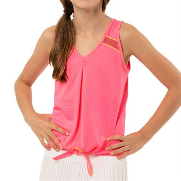 Lucky in Love Mad About Plaid Girls Tie Knot Tank Schocking Pink T204 648