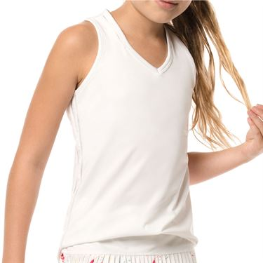 Lucky in Love Core Girls V Neck Cutout Tank - White