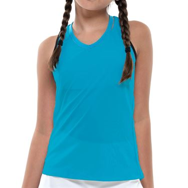 Lucky in Love Square Are You Girls V Neck Cutout Tank Turquoise T207 409