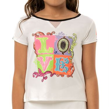 Lucky in Love Rockin Rococo Girls Lucky Lane Tee Shirt White T210 D10110