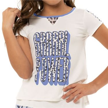 Lucky in Love On The Prowl Girls Grrrl Power Tee Shirt White T210 D11110