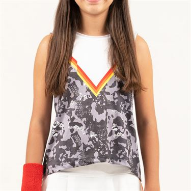 Lucky in Love Camo Groove Girls Camo Tie Back Tank White T211 901110