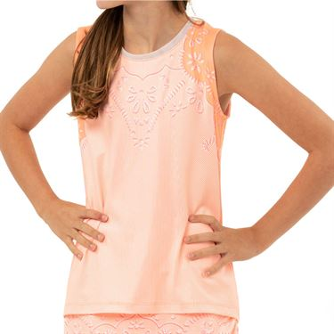 Lucky in Love Eyelet Go Girls Eyelet Tie Back Tank Orange Frost T211 D05824