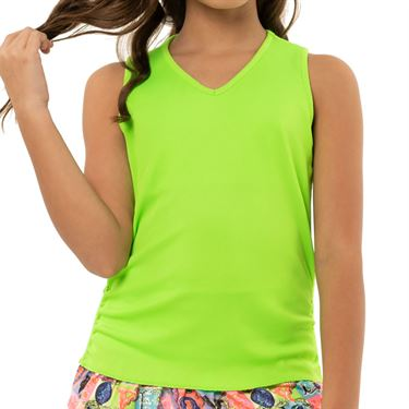 Lucky in Love Rockin Rococo Girls Light Weight Rib Tank Lime T213 334
