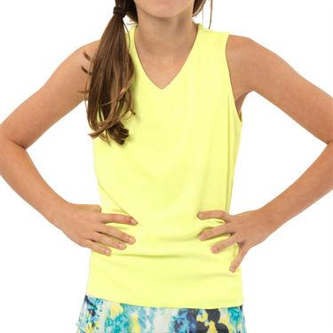 Lucky in Love Peace Out Girls Lightweight Rib Tank Lemon Frost T213 718