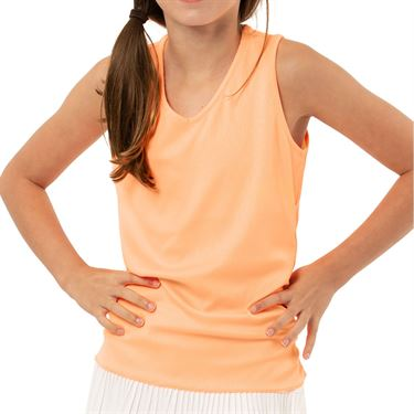Lucky in Love Eyelet Go Girls Lightweight Rib Tank Orange Frost T213 824