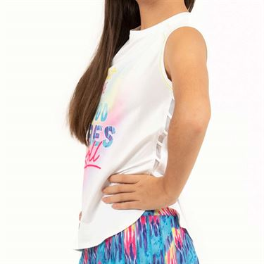 Lucky in Love Meshing Around Girls Tie Dye Vibes Muscle Tank