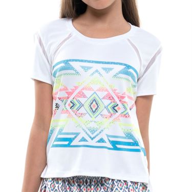 Lucky in Love Square Are You Girls Top White/Turquoise T224 E84409