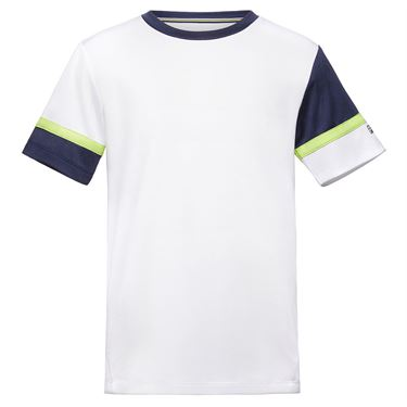 Fila Boys Player Doubles Crew Shirt White/Navy/Acid Lime TB018393 101