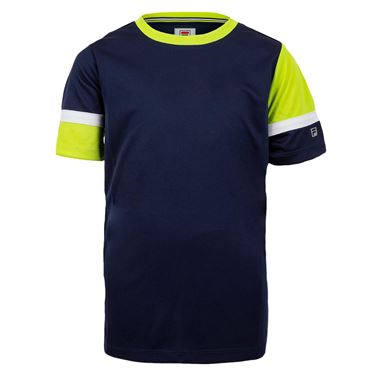 Fila Boys Player Doubles Crew Shirt Navy/Acid Lime/White TB018393 412
