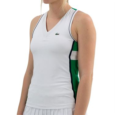 Lacoste Tech Tank - White/Palm Green/Navy Blue