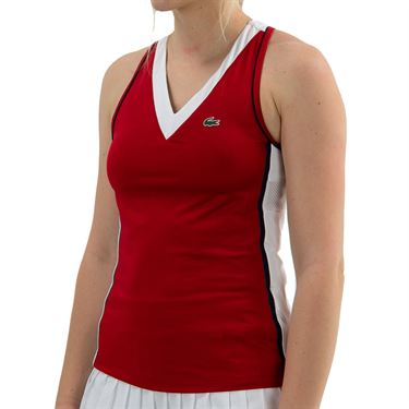 Lacoste Tech Tank - Ruby/White/Navy Blue