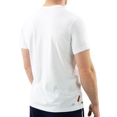 Lacoste SPORT French Open Edition Logo Print T-shirt - White/Navy Blue