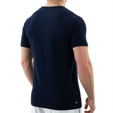 Lacoste SPORT French Open Edition Crocodile Print T-Shirt - Navy Blue/White