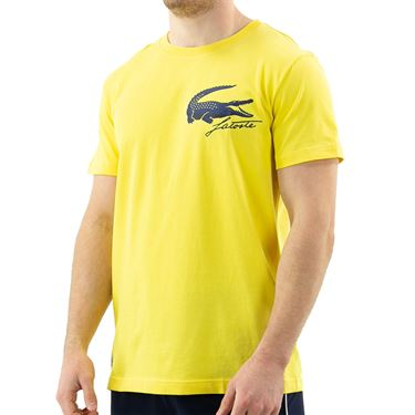 Lacoste SPORT French Open Edition Crocodile Print T-Shirt - Sunny/Navy Blue