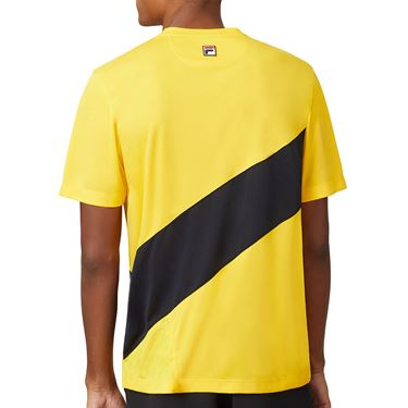 Fila Break Point Slash Crew Shirt Mens Gold Fusion/Black TM015354 755