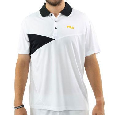 Fila Break Point Polo Shirt Mens White/Black/Gold Fusion TM015355 100