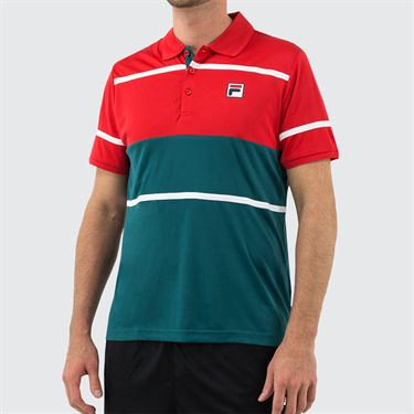 Fila Legend Polo Shirt Mens Chinese Red/White/Pacific TM015368 622