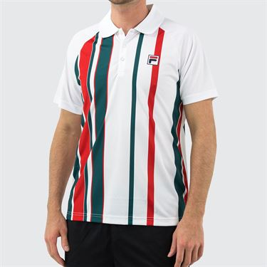 Fila Legend Stripe Polo Shirt Mens White/Pacific/Chinese Red TM015369 100