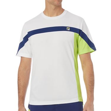 Fila PLR Crew Shirt Mens White/Blueprint/Acid Lime TM016279 100