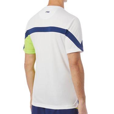 Fila PLR Crew Shirt Mens White/Blueprint/Acid Lime TM016279 100
