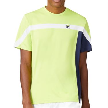 Fila PLR Crew Shirt Mens Acid Lime/Blueprint/White TM016279 368