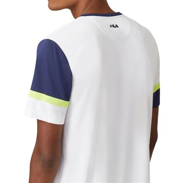 Fila PLR Doubles Crew Shirt Mens White/Blueprint/Acid Lime TM016281 100