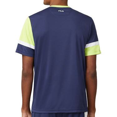 Fila PLR Doubles Crew Shirt Mens Blueprint/White/Acid Lime TM016281 919