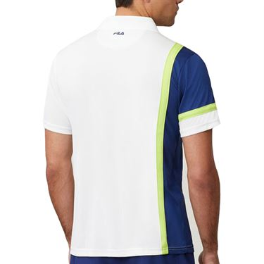 Fila PLR Polo Shirt Mens White/Blueprint/Acid Lime TM016283 100